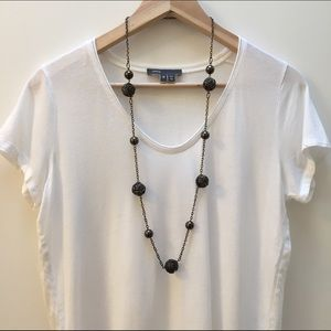 Metallic Black Spiral Ball Chain Necklace