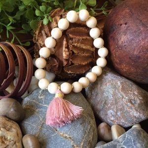 "Twilight Gypsy Collective Jewelry - ""Camila"" Tassel Stretch Bead Bracelet, pink tassel"