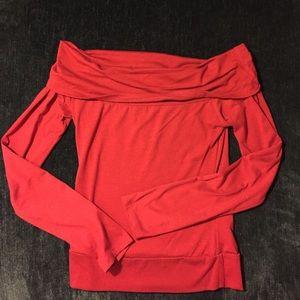 Tops - Off shoulder red jersey material top