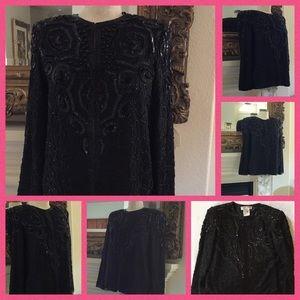 Vtg Adrianna Papell Black Beaded Jacket Flash Sale