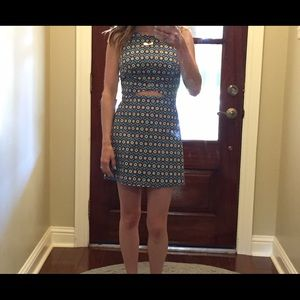 Zara Patterned Skort Dress With Cut Out