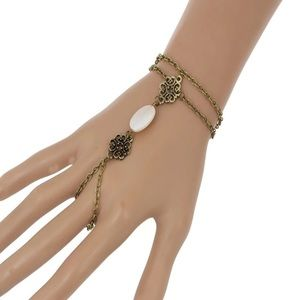 Jewelry - NEW! Bracelet with attached ring antique gold