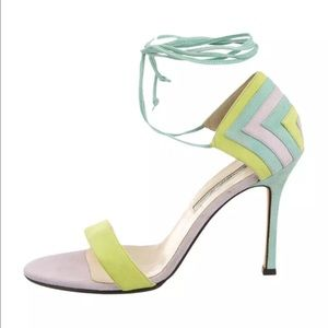 Brian Atwood Shoes - Brian Atwood NEW $578 Suede Colorblock Stilettos