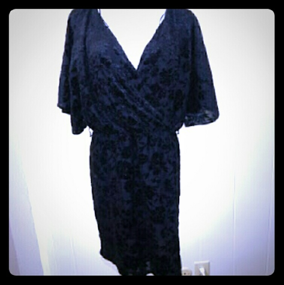 901ffa46663eb H&M Dresses | Hm Black Floral Velvet Faux Wrap Dress | Poshmark