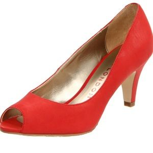 Sacha London Shoes - Sacha London Holly Open-Toe Pump Red Apache 7.5