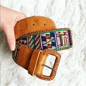 Vintage Embroidered Leather Belt
