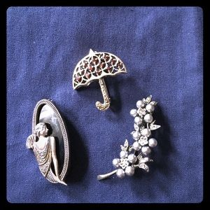 Sterling silver and gemstone brooches