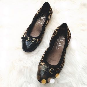 AGL Shoes - AGL Leopard Calf Hair Cap Toe Flats