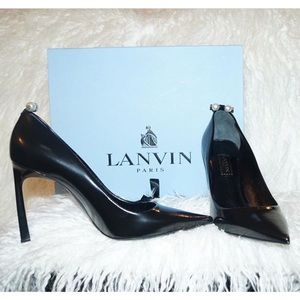 Lanvin Shoes - Lanvin. Black leather heel with pearl stud accent