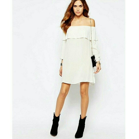 56281a9a1f1b Glamorous Off Shoulder Dress with Frill Bust