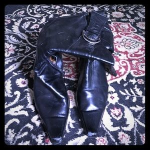 Leather mid calf boot