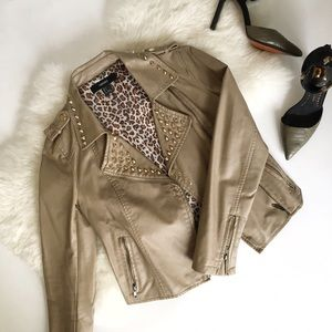 Jackets & Blazers - Camel / Taupe Studded Vegan Leather Moto Jacket