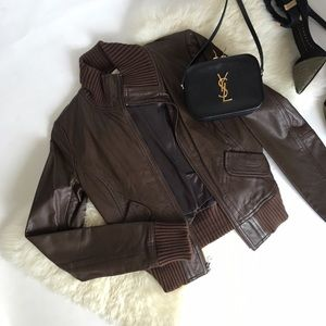 Chocolate Brown Leather Bomber Jacket