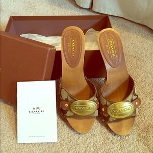 Coach wood sandals