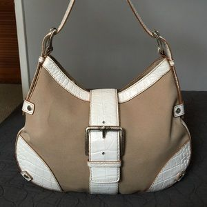 Michael Kors Handbags - Michael Kors Leather and Canvas Shoulder Bag
