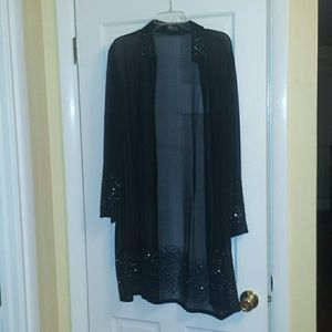 J Kara Tops - Long Sheer black jacket