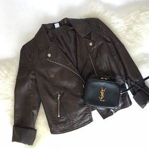 Jackets & Blazers - Brown Vegan Leather Moto Jacket with Quilting