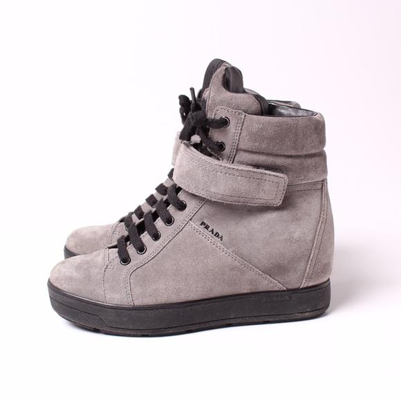 40df8a86f1e7 Prada Suede Hightop Wedge Sneaker. M 5741f9006802784c4d058444