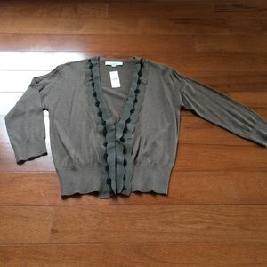 Loft v-neck cardigan with lace and crepe detail