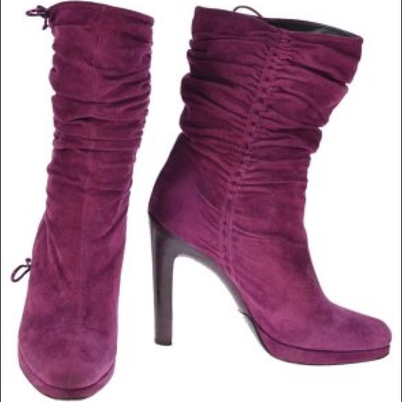 b0aa0d65bd7 Gucci Purple Suede Pleated Short Platform Boots