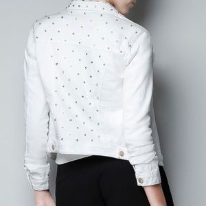 Zara White Denim Studded Jean Jacket