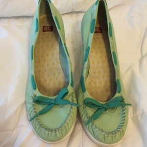 BC Footwear Shoes - BC Footwear Light Green lace wedge boat shoes