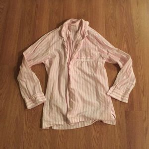 Victoria's Secret pink/white striped pajama top