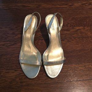 J Crew Gold Heeled Sandals