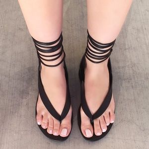 Shoes - LAST ONE - Thong Lace Up Flats