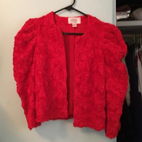 c38491e9cc2f H M Jackets   Blazers - Red bolero cropped jacket rose detail texture