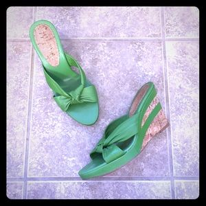 ANTONIO MELANI Shoes - Green Cork Wedges