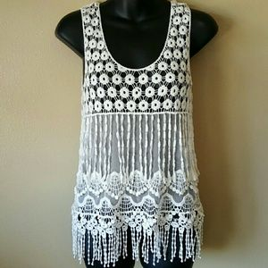 Say What? Tops - nwot//say what? Crochet fringe tank