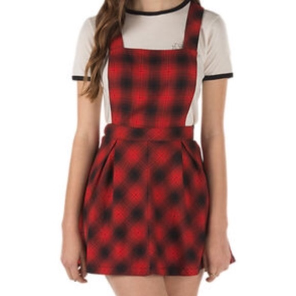 6111ea248f Red plaid overalls skirt