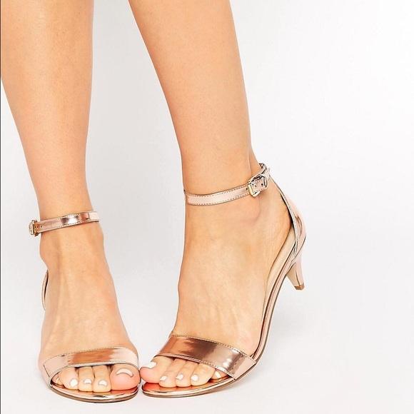 4326cd26945 ASOS Shoes - Asos metallic kitten heel sandals