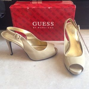 GUESS by Marciano Nude Peep-Toe Heels