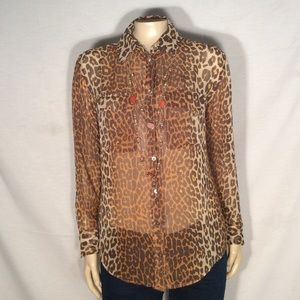 Equipment Brown cream black animal print blouse