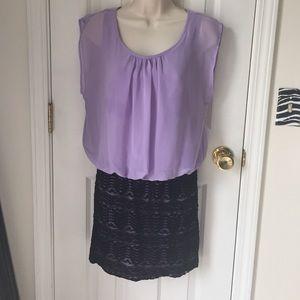 Dresses & Skirts - Purple and lace mini 💜