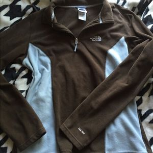 ef3d8efb1 Brown and light blue North Face fleece pullover