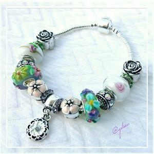 Salty Grace  Jewelry - Flower garden charm bracelet
