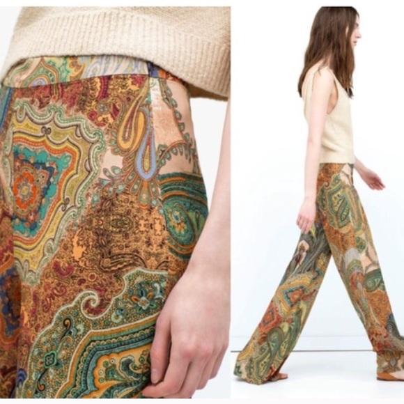 Zara Pants - Brand new wide-leg paisley print trouser pants
