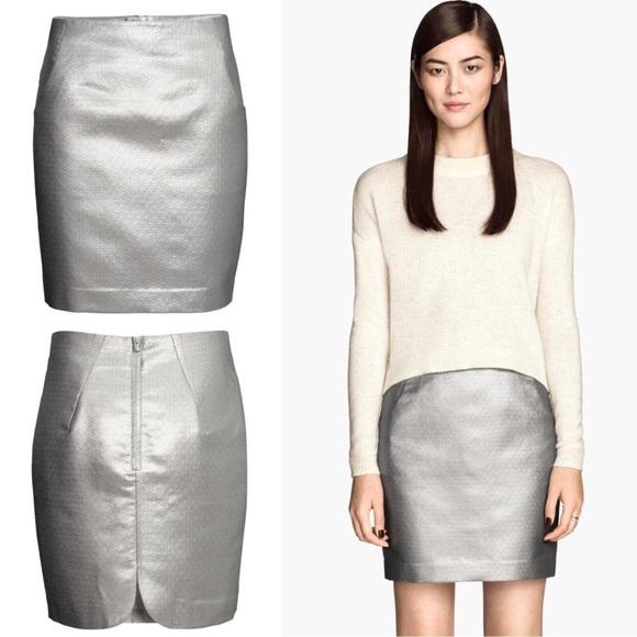 af188849d3a H M Metallic Silver Pencil Skirt w  POCKETS!