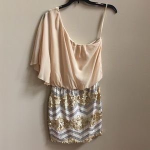 NWOT As U Wish one shoulder sequined dress Small