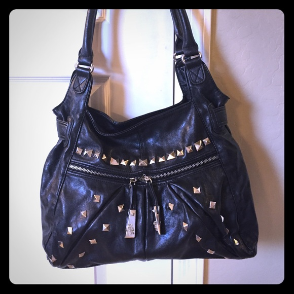 48496b390cd8 Genna De Rossi Handbags - Genna De Rossi Black Studded Shoulder Bag Purse