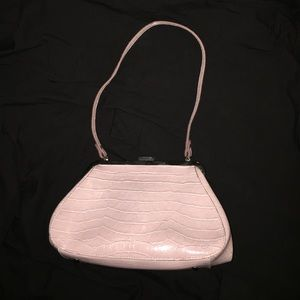 Small Pink Faux Croc Purse