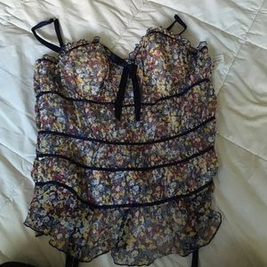 Flowery Fredrick's of Hollywood Corset Top.