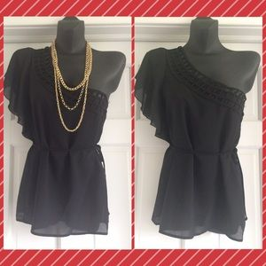 One Shoulder Sheer Black Top Size S