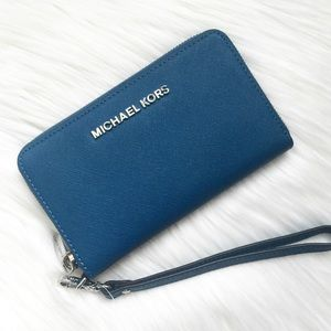 New Michael Kors Blue Zip Wallet!