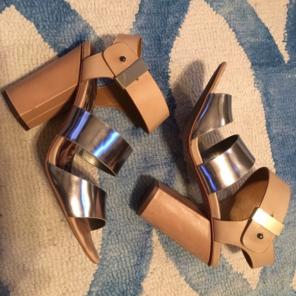 Sam Edelman Shoes - Sam Edelman Natural and Gunmetal Yelena Sandals