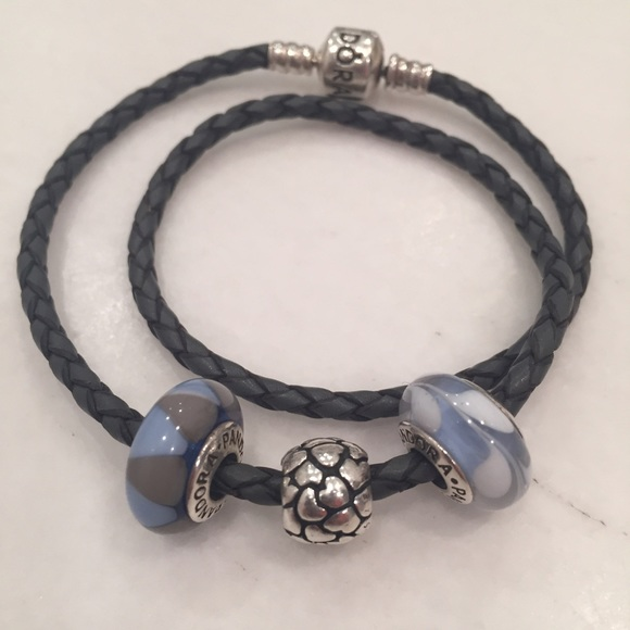 437a4d8e1 Pandora Jewelry | Grey Double Leather Bracelet With 3 Charms | Poshmark