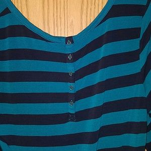Lucky Brand Tops - Lucky Brand Navy & Teal Stripe Top